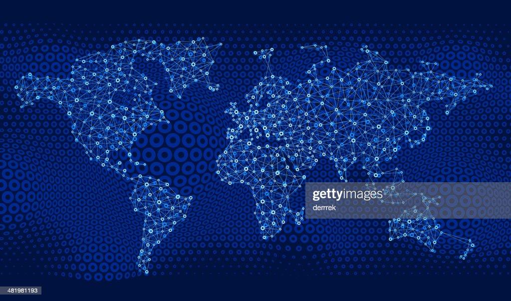 World Map Global Communications : Vector Art