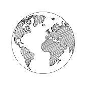 World map globe sketch in vector format