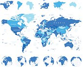 Highly detailed vector illustration of world map, globes and continents