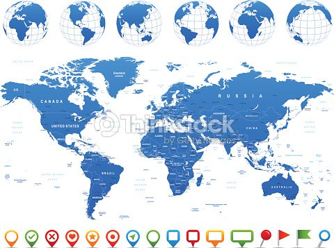 World map globes continents navigation icons illustration vector world map globes continents navigation icons illustration vector art gumiabroncs Images