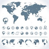 Vector set of world map and globes.