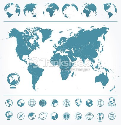 World map globes icons and symbols illustration vector art thinkstock world map globes icons and symbols illustration gumiabroncs Gallery