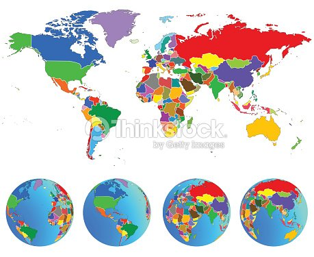 World Map Globes With Countries Planet Earth Vector Vector Art