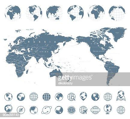 World Map Gray - Asia in Center : stock vector