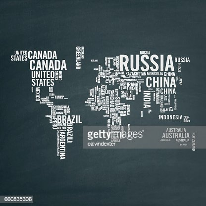 World Map Illustrated With Countries Names Vector Art Getty Images - World map with country names