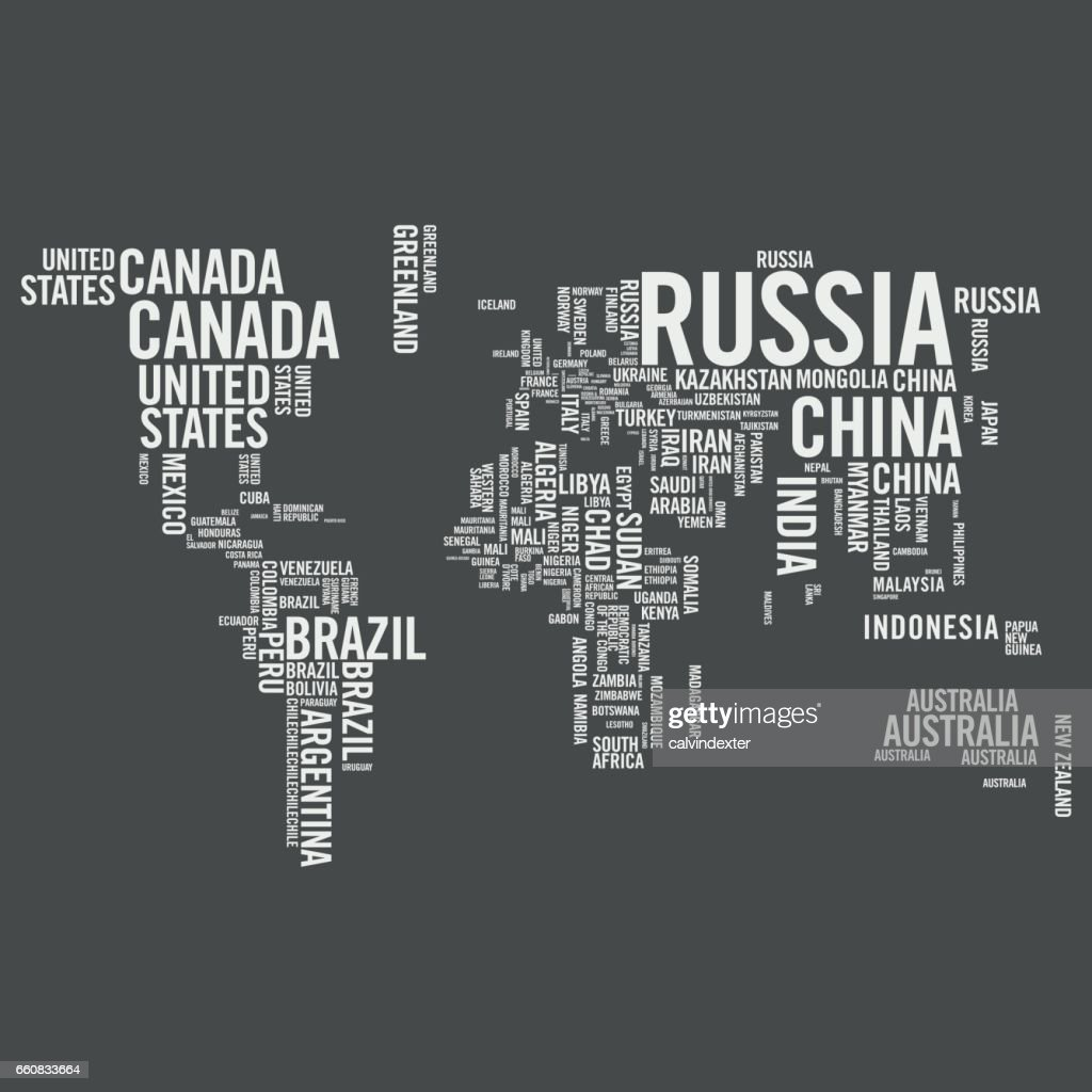 World Map Illustrated With Countries Names Vector Art Getty Images