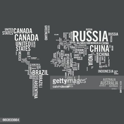 World Map Illustrated With Countries Names Vector Art Getty Images - World map with names