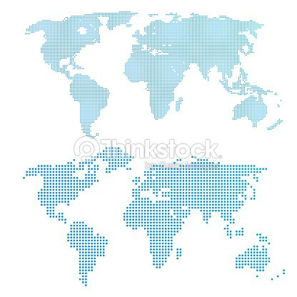 World Map In Dots Blue Color Vector Art Thinkstock - World map in blue color
