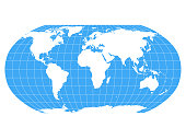 World Map in Robinson Projection with meridians and parallels grid. White land and blue sea. Vector illustration.