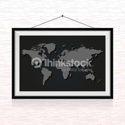 World map in the photo frame hanged on the wall vector art thinkstock world map in the photo frame hanged on the wall vector art gumiabroncs Image collections