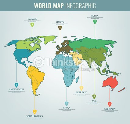 world map infographic template all countries are selectable vector vector art