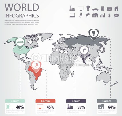 World Map Infographic Template All Countries Are Selectable Vector