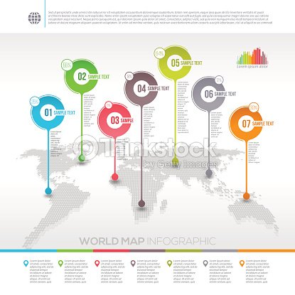 World map infographic with map pointers vector art thinkstock world map infographic with map pointers gumiabroncs Choice Image