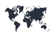 World map isolated on white background. Vector illustration. Eps 10.