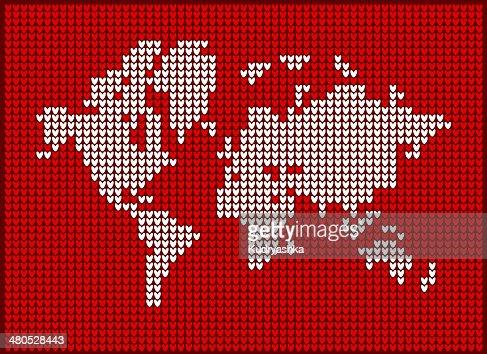 Carte du monde en tricot pour votre design : Clipart vectoriel