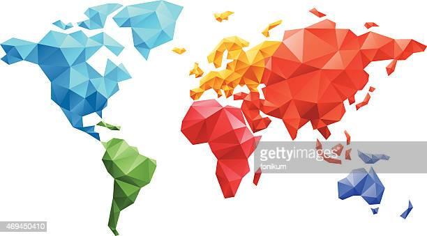 Carte du monde faite de triangles