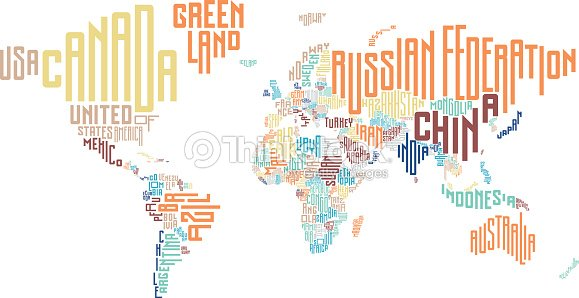 World map made of typographic country names vector art thinkstock world map made of typographic country names vector art gumiabroncs Gallery