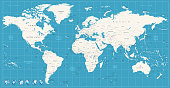 World map navy blue colors and glossy style globes. All elements are separated in editable layers clearly labeled.