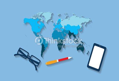 World map office desk traveling vector art thinkstock world map office desk traveling vector art gumiabroncs Images
