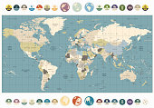 World Map old colors illustration with round flat icons and globes. All elements are separated in editable layers clearly labeled.