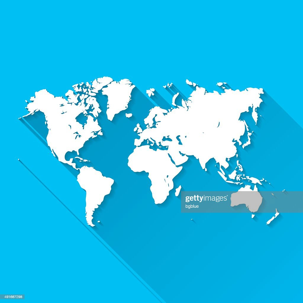 World Map On Blue Background Long Shadow Flat Design Vector Art - World map flat