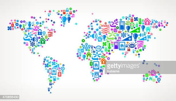 World Map on Home Automation and Security Vector Background