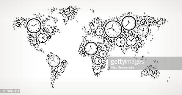 World Map on Time and Clock Vector Icon Pattern