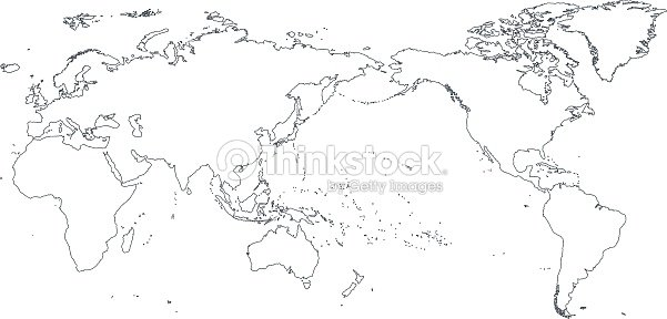 world map outline contour silhouette asia in center vector art