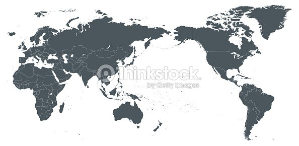 World map outline contour silhouette borders asia in center vector world map outline contour silhouette borders asia in center vector art gumiabroncs Images