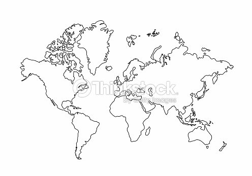 World Map Outline Graphic Freehand Drawing On White Background ...