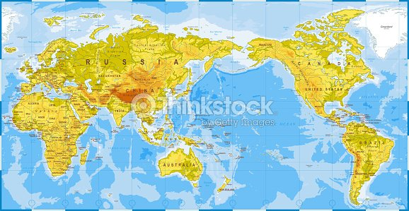World map physical asia in center china korea japan vector art world map physical asia in center china korea japan gumiabroncs Choice Image