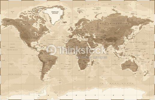 World map physical vintage vector vector art thinkstock world map physical vintage vector vector art gumiabroncs Gallery