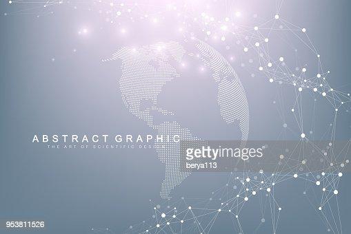세계지도 글로벌 기술 네트워킹 개념으로 포인트. 디지털 데이터 시각화입니다. 라인 총입니다. 큰 데이터 배경 통신 합니다. 과학적인 벡터 일러스트 레이 션 : 벡터 아트