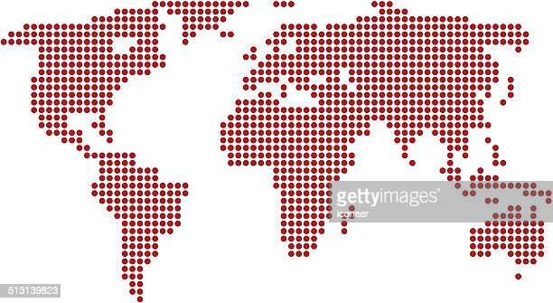 World map red made of dots