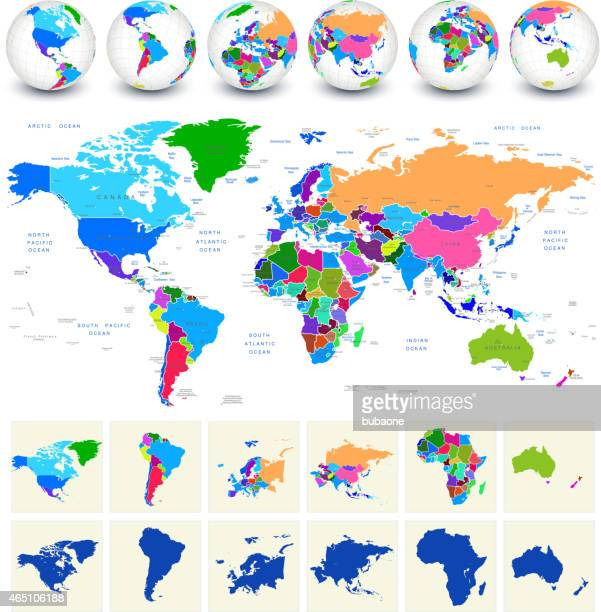 World Map royalty free vector art with globes