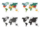 World map set isolated on white background. Vector illustration.