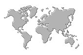 World map . Simple cartoon and outline style . Vector .