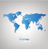 Blue Design World Map On A Gray Background. Ai10eps. EPS file contains gradient mesh and transparency effects.