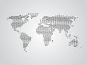 World map vector illustration using binary numbers or signs to represent digital