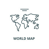 World map  vector line icon, outline concept, linear sign