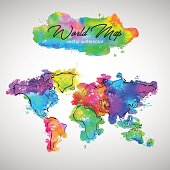 World Map Watercolor Paint Vector