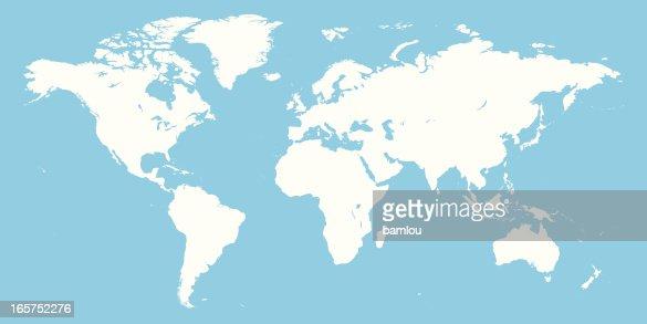 Mappa Mondo Bianco E Blu Arte vettoriale | Getty Images