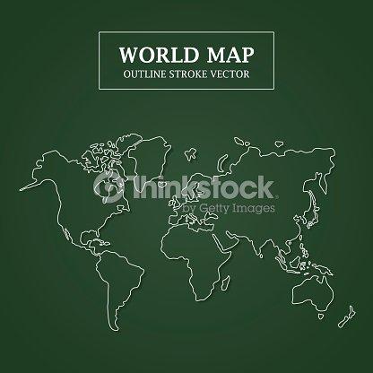 World map white outline stroke on green background vector art world map white outline stroke on green background vector art gumiabroncs Images