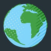 World map with Africa and South America in comic book style abstract globe for ecology illustration