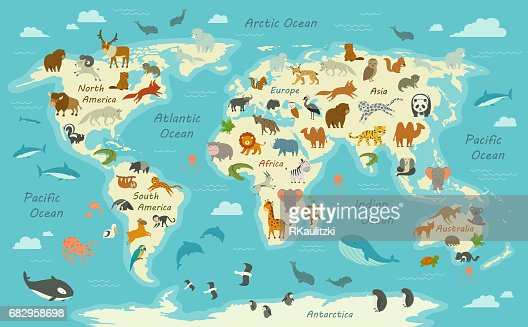 World Map with Animals : Vector Art