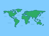 World map with blue background. Line art design.