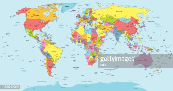 World Map With Countries Country And City Names Vector Art Getty - Us map with countries