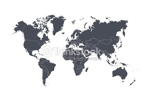 World map with countries isolated on white background. Vector illustration. : stock vector