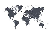 World map with countries isolated on white background. Vector illustration. Eps 10.