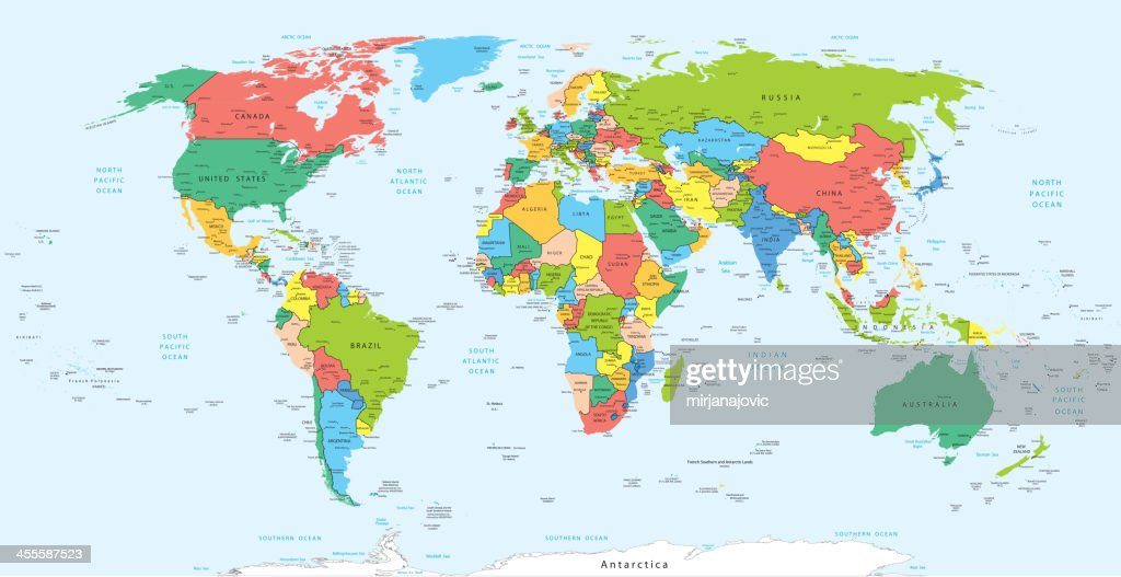 World Map With Countries Vector Art Getty Images - Globe map with countries